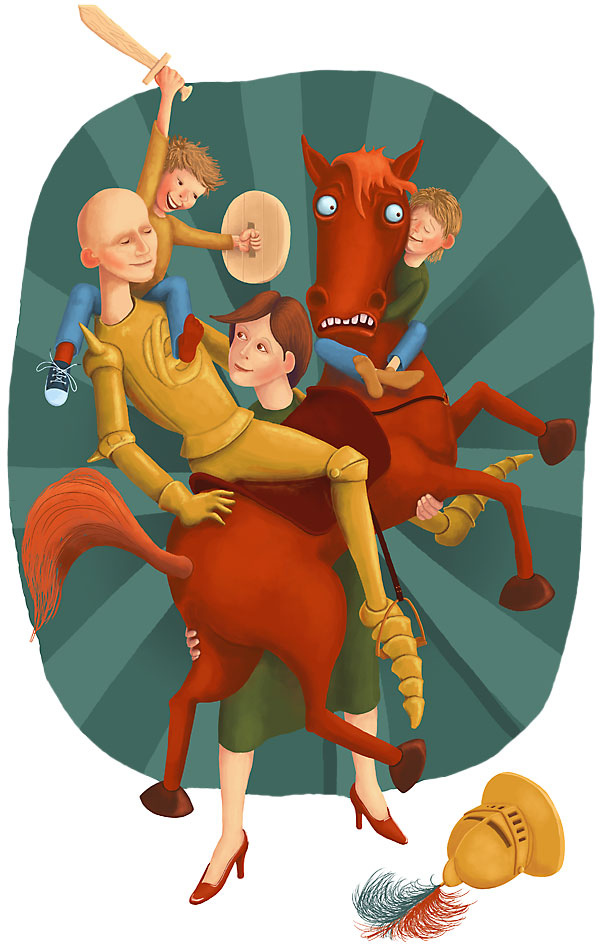 Red hors and family